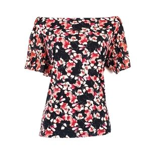 White House Black Market Tops - WHBM Floral Pleated Sleeve Off The Shoulder Top XL